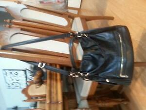 Black leather beautiful bag/purse  never used gold buckles