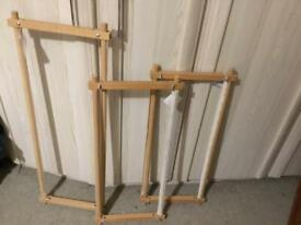 3 WOODEN EMBROIDERY FRAMES (SELLING SEPARATELY)