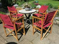 X4 fold up wooden director's chairs
