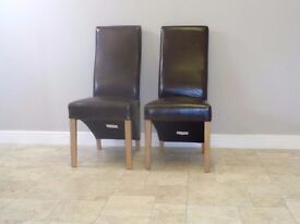 2x Curved Back Brown Leather Dining Kitchen Chairs with Solid Oak Legs