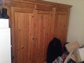 Pine treble wardrobe