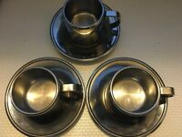 VINTAGE MINT SET OF 3 S/S 18/10 MEBER ITALY THERMOS ESPRESSO CUPS & SAUCERS