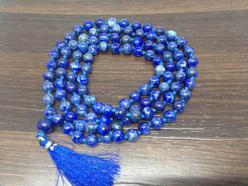 Natural 8mm LAPIS Lazuli Knotted Mala with 108 Prayer Beads ~ JP527