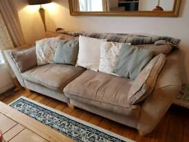 Good condition three seater sand coloured sofa settee couch FREE collection only