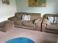 Sofa, Arm Chair, Footstool. 3 Piece Suite. Light brown beige. Collect from Exeter.
