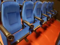 cinema seating in blue