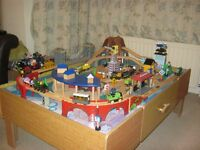 Wooden Train Set and Play Table, 8 trains & 7 Thomas The Tank Engine trains & more.