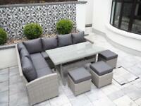 Garden Furniture. Luxury Rattan Cannes 9 Seater Dining Set 20% Sale