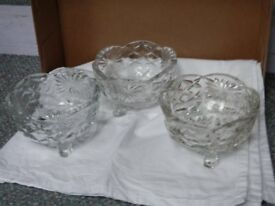 Chunky vintage glass sugar bowls