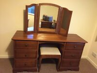 Dressing table with stool and 2 bed side cabinets