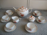 Herend China 'Chinese Bouquet' – Rust. 15 piece Tea set