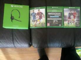Xbox one headset and 3 games for sale