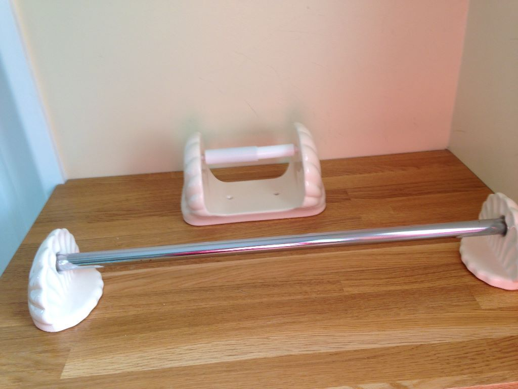 Towel Rail And Toilet Roll Holder Peach Shell Design