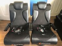 Two X-Rocker Vision 2.1 gaming chairs