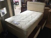 4ft Seally divan with draws and new headboard. (FREE DELIVERY)
