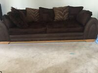 DFS 4 seater, 3 seater sofas and storage foot stool