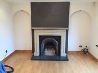 Fire place including hearth and mantle piece complete