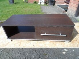 Brown TV Cabinet with metal legs, drawer and space for storing DVD/sky box recorder