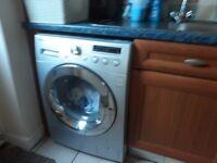 Silver washing machine.