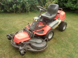 "Husqvarna ride on lawnmower, outfront 48"" deck, power steering,hydraulic deck lift,21hp twin ohv,eng"