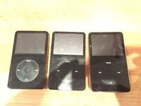 3 x iPods - no chargers and dead, 1 fully working, 2 power up but thats it