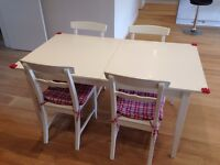 Ikea Lyckhem Extendable Dining Table & 4 Chairs (White)