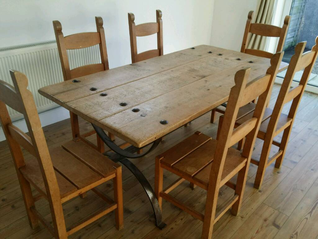 Dining Table And Chairs Set Rustic Wooden Door Eddershaws