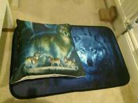Carpet and pillow blue wolf