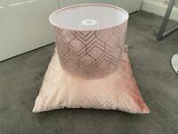 Next pink geometric light shade and cushion