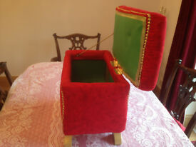 Shabby Chique stool with Storage in Velvet