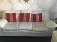 Stunning white leather 3 piece suite & tv unit £300