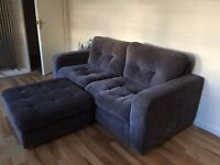 DOUBLE SOFA AND POUFFE, GREY IN COLOUR, IN GREAT CONDITION