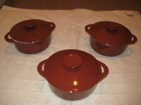 3 Brown Cast Iron Cooking Pots - £25.00 each or 3 for £70.00