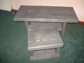 Scaffold board coffee table with matching side table