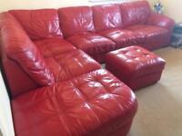 DFS Red Italian Leathers Corner Sofa