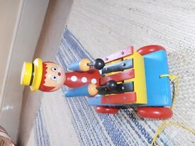 Wooden Pull Along Musical Clown Playing Xylophone, Traditional/ Vintage Toy