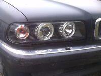 BMW 7 Series Type-E38 {97-01} Black Ring Angel Eyes Headlights Pair RHD/LHD