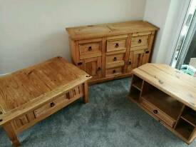 Pine living room set of tv stand, coffee table and sideboard.
