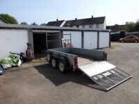 Ifor Williams double axle trailer model KFG 27 2.5m x 1.5m with loading ramp and ladder rack