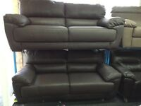 NEW/Ex Display Reid Abella Brown Leather 3 Seater Sofa + 3 Seater Sofa