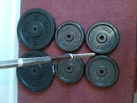 80kg cast iron weights plus long bar