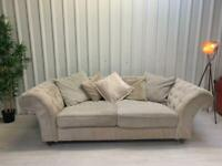 Next Cream fabric 3 seater chesterfieald sofa FEEE DELIVERY