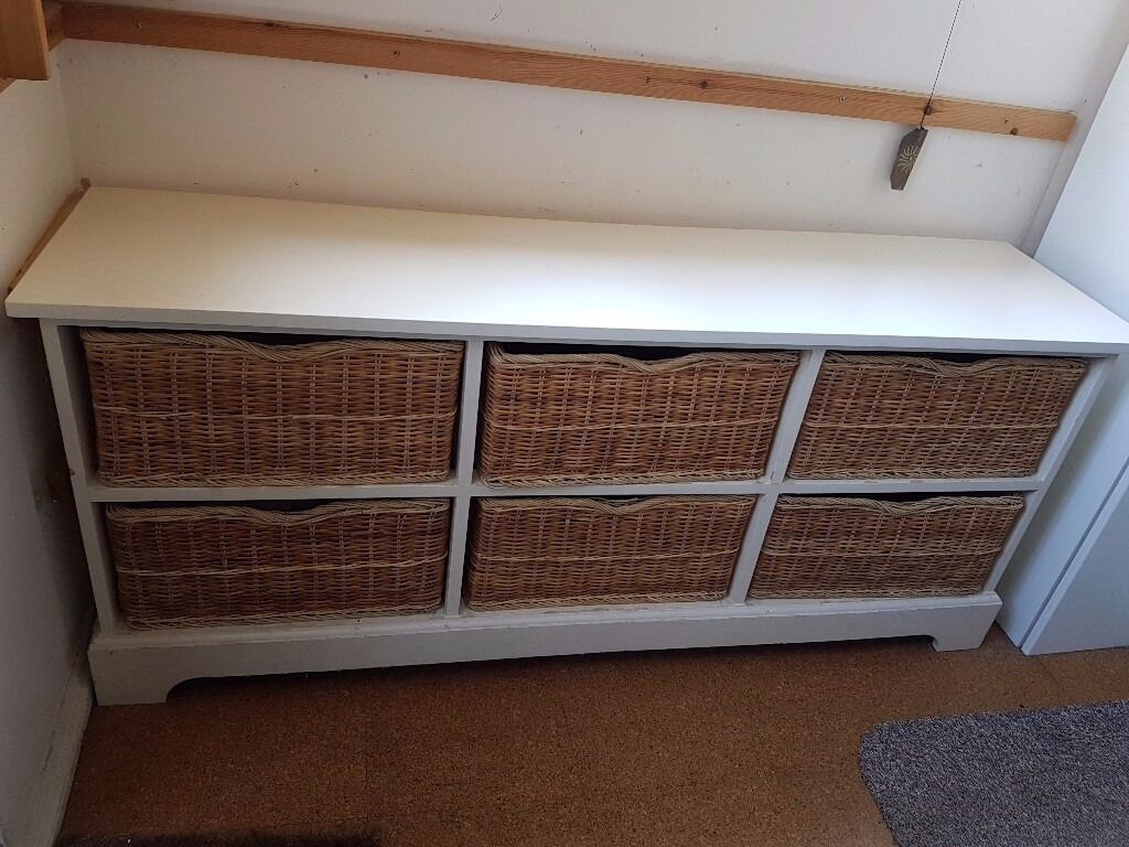 Large solid wood sideboard with wicker baskets as drawers Shabby Chic Great storage in Poole