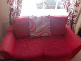 4-seater sofa bed (charcoal/black combo) & 3-seater sofa (red) for sale