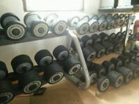 Technogym dumbell set and 2 rack's