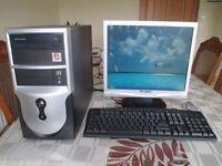 "Computer, Flat Screen 17"" Monitor, Printer 3 in 1, Keyboard & Mouse"