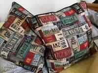 American themed feather filled cushions