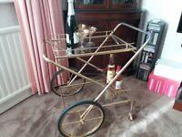 hollywood regency style gold bar trolley .vintage french drinks trolley