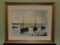 framed print of moored boats by Peter Welch