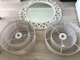 2x Champagne Light shades and white, gold/champagne mirror